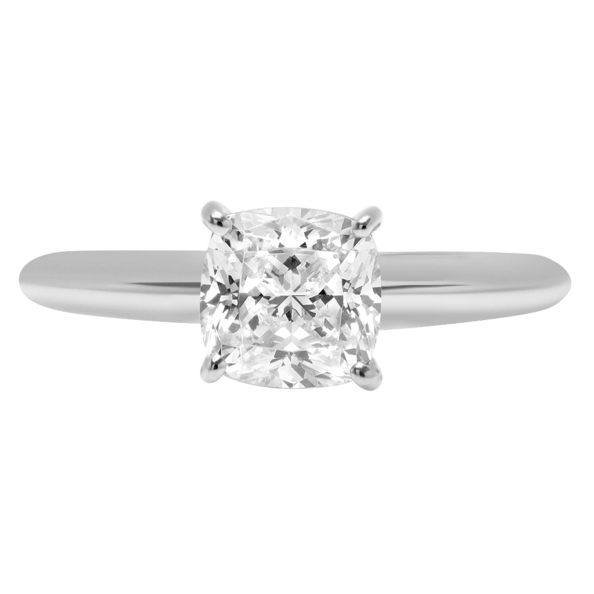 0.95ct Brilliant Cushion Cut Solitaire Highest Quality Lab Created White Sapphire Ideal VVS1 D 4-Prong Classic Designer Statement Ring Solid Real 14k White Gold for Women