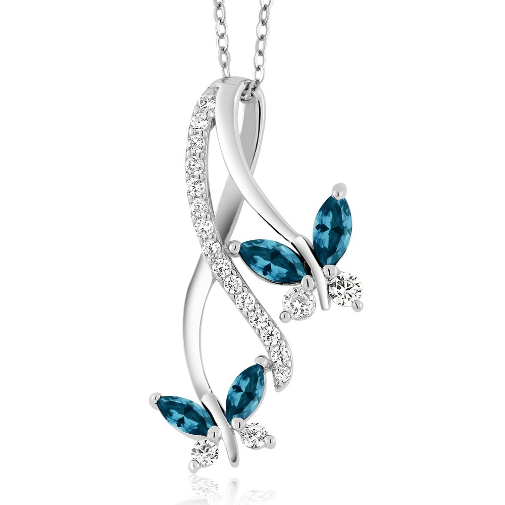 Gem Stone King 925 Sterling Silver London Blue Topaz Butterfly Pendant Necklace For Women, 1.49 Cttw Marquise Cut, Gemstone Birthstone with 18 Inch Silver Chain