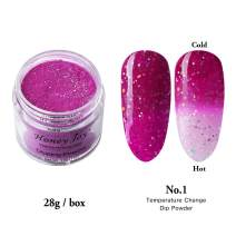 28g/Box Purple and White Temperature Color Change with Shine Glitter Dip Powder Nails Dipping Nails Long-lasting Nails No UV Light Needed, (W-No.1)