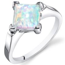 Created Opal Ring Sterling Silver Princess Cabochon 1.50 Carats Sizes 5 to 9