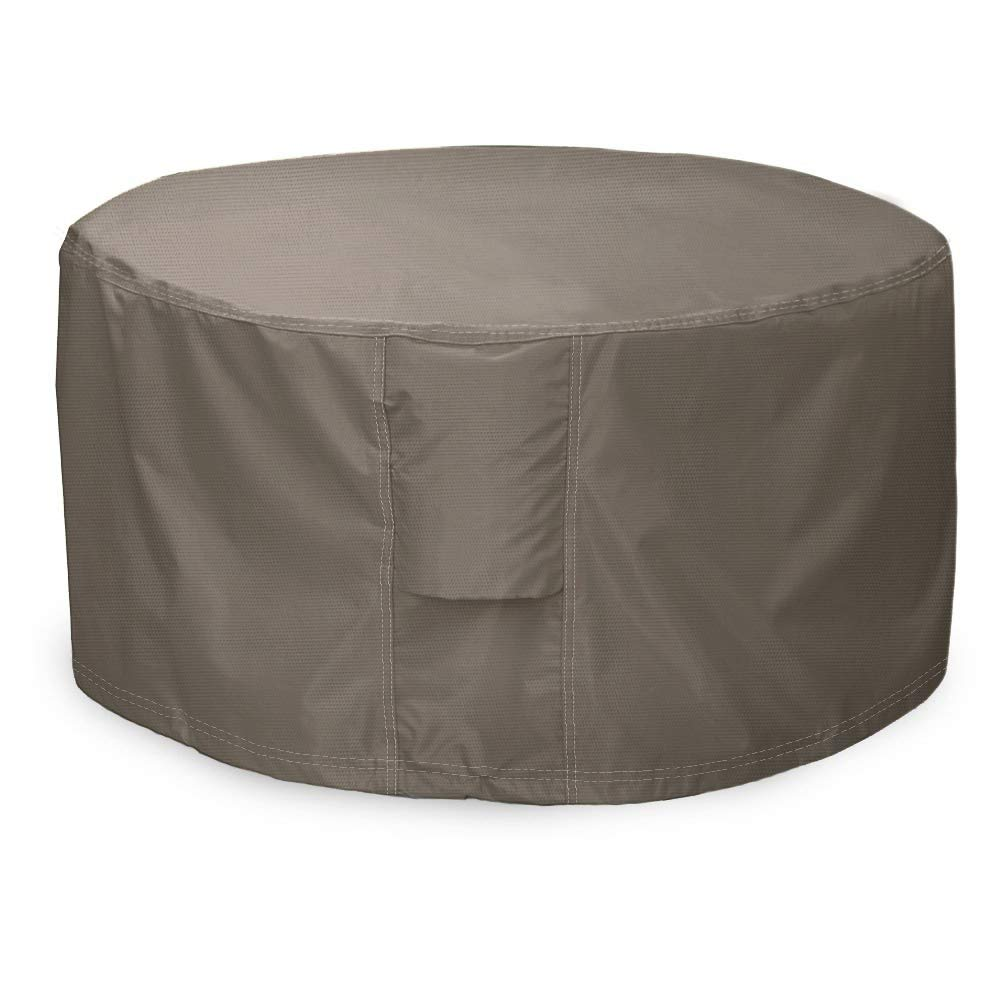 """Leader Accessories Full Coverage Round Fire Pit/Bistro Table Cover Heavy Duty & Waterproof Fabric (44"""" L x 44"""" W x 22"""" H)"""