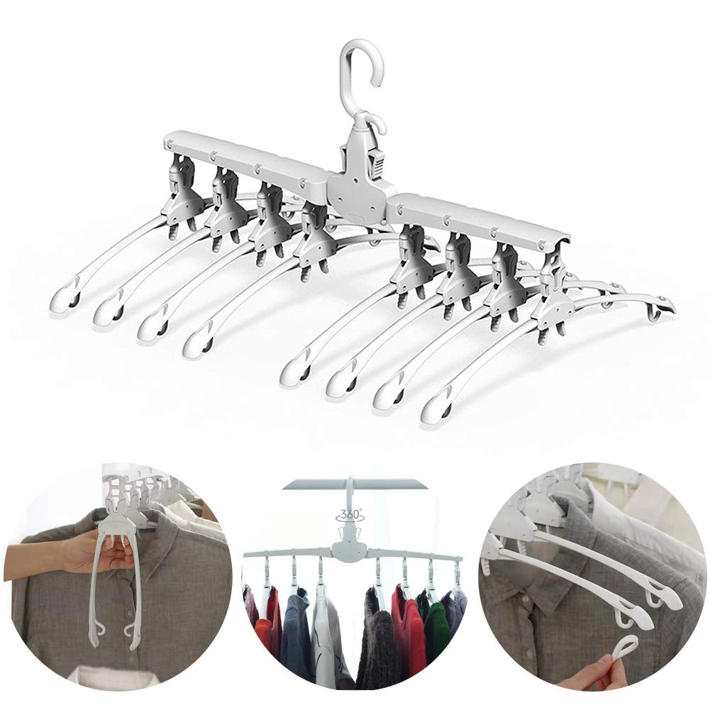 Blnboimrun 8 in 1 White Magic Plastic Hangers,360 Degrees Rotate Slip Resistant Standard Clothing Hanger,Space Saving Solution for Your,Closet Ideal for Everyday Use (Without Clips)