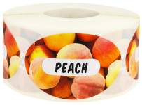 Peach Grocery Store Food Labels 1.25 x 2 Inch Oval Shape 500 Total Adhesive Stickers