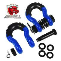 AMBULL Shackles 3/4 Inch D Ring Shackle (2 Pack) 41,850lb Break Strength with 7/8 Inch Pin, Isolator and Washer Kits for Use with Tow Strap, Winch, Off-Road Jeep Truck Vehicle Recovery (Blue)