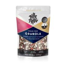 Blue Frog Breakfast Gourmet Granola - Crunchy Peanut Butter, Cacao & Raspberry - Healthy Gluten & Grain Free - Natural Whole Food Organic Ingredients - Low Sugar Vegan & Paleo Cereal (7 Serves)