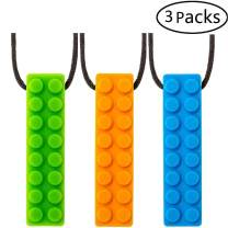 2019 Upgrade Sensory Teething Necklace,Stim Autism Oral Chew Toys for ADHD Kids Toddlers 1-3, Anxiety Boys&Girls Durable FDA Safe Silicone Material Suitable for Aggressive Chewing 3Packs by STWIE