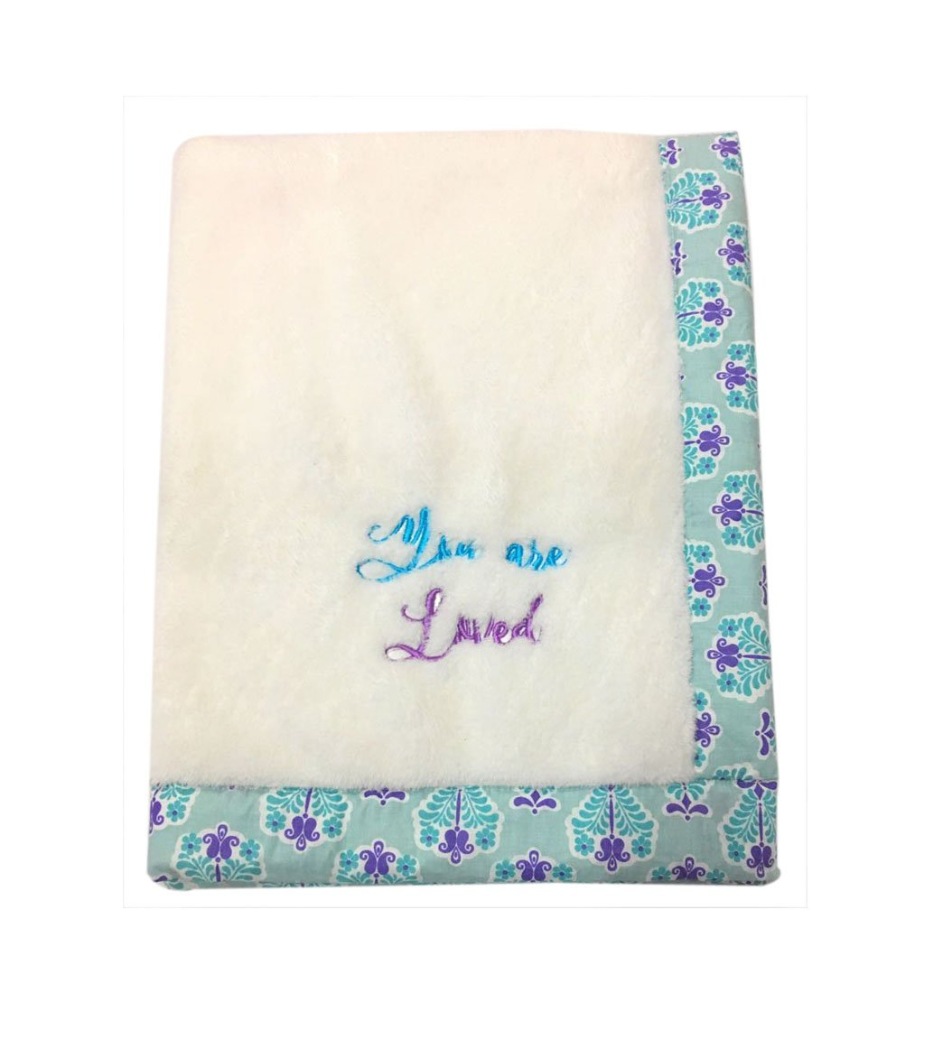 Bacati - Paisley Floral Plush Embroidered 30 x 40 inches Baby Blanket (Aqua/Lilac/Purple Floret White)