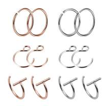 TOPBRIGHT 4-12pcs Round Diamond CZ Stone Nose Studs Rings Surgical Stainless Steel Nose Body Piercing for Womens Mens