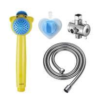 KAIYING Handheld Shower Head for Kids, Baby Shower Sprayer, Bathroom Toddler Shower Wand w/ 59'' Hose, Suction Cup Bracket, Diverter (Yellow)