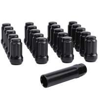 KSP 12mmx1.25 Black Tuner Wheel Lug Nuts Fit 350Z 370Z G35 G37,6-Spline Chorme Conical Acorn Seat with 1 Socket Key for 5 Lug Tires