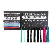 Running On The Wall Medal Hanger Display and Race Bibs - There Will Be A Day When You Can N.