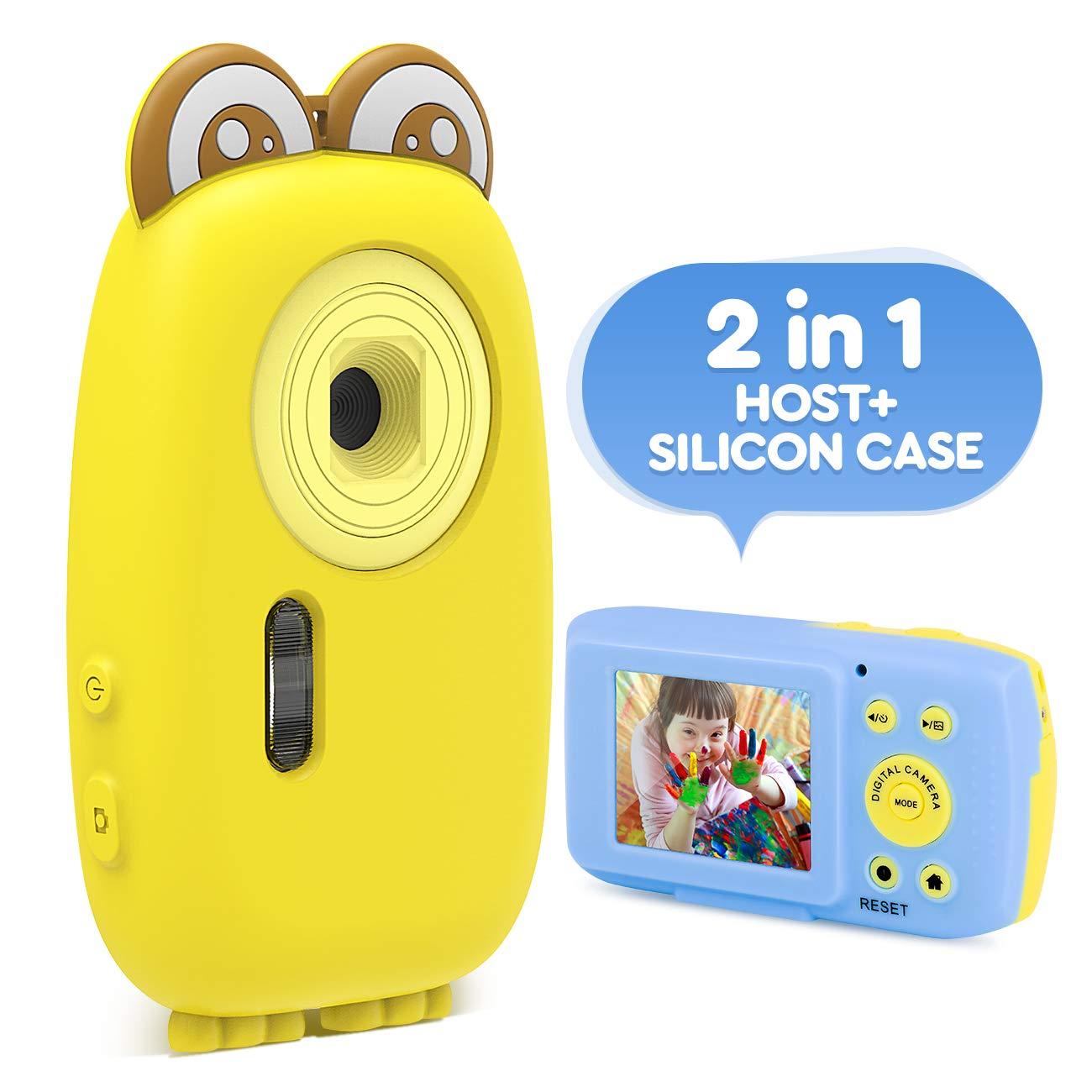 AMKOV Kids Camera Children Digital Cameras for Girls Boys Birthday Toy Gifts 3-8 Year Old Kid Action Camera Toddler Video Recorder 1080P IPS 2 Inch