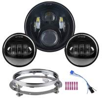 "7 inch Led Headlight With 2pcs 4-1/2"" 4.5 inch Passing daylight Motorcycle Led headlight assembly Kit for Touring Road King Street Glide Fat boy with Mounting Ring 7 inch (Headlight Kit Black)"