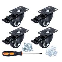 """4 Pack 1.5""""Caster Wheels, Swivel Casters, Casters with Brake, Workbench Casters kit, No Noise Casters, Polyurethane (PU) Wheels with Locking, Heavy Duty Plate Casters for Table, Furniture, cart"""