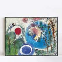 """INVIN ART Framed Canvas Giclee Print Art All Things on Earth by Marc Chagall Wall Art(Ps Polymer Black Frame,24""""x32"""")"""