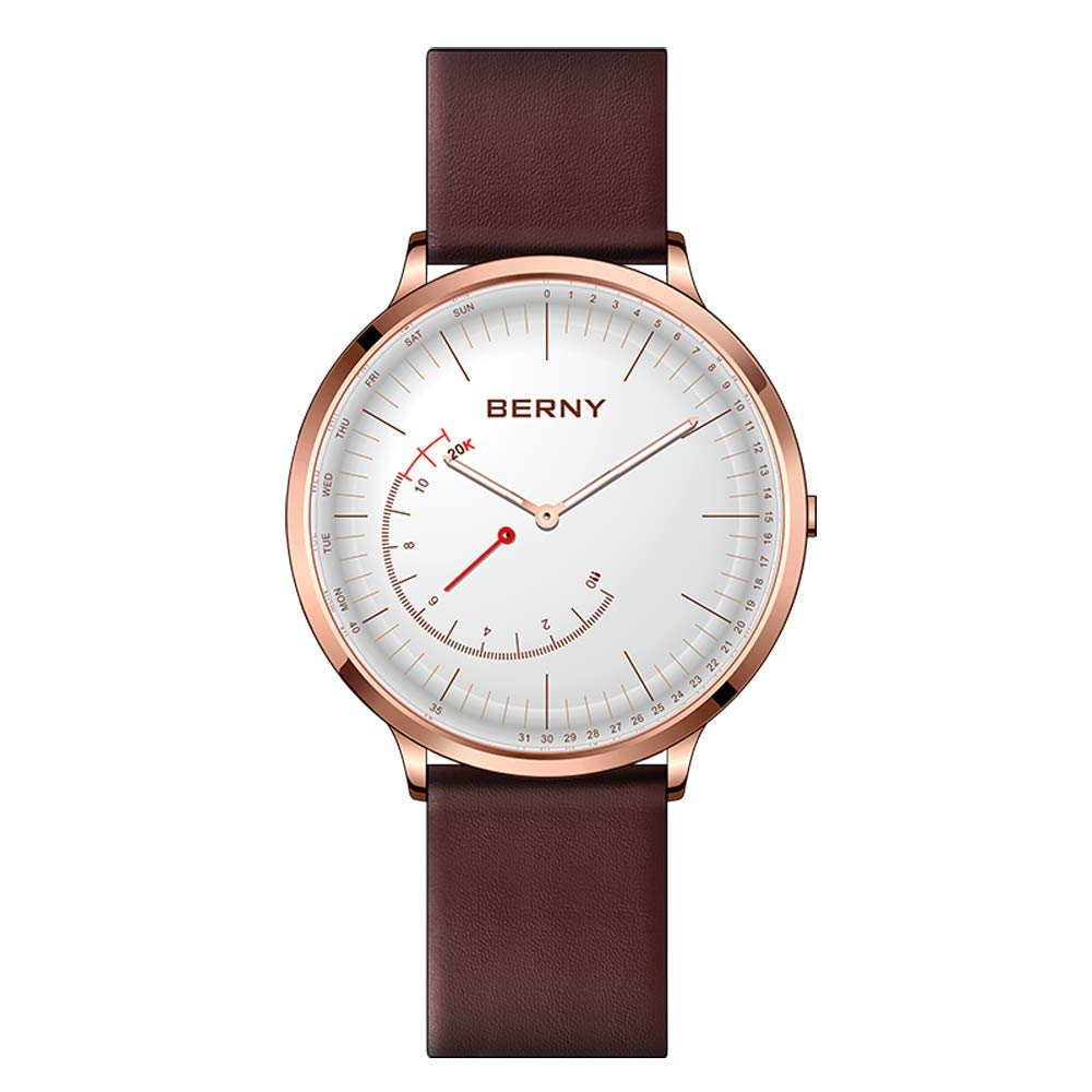 BERNY Hybrid Smart Watch Couple Watch for Men and Women, Pedometer Calories Monitor Fitness Tracker with SOS Function, Compatible with iPhone and Android (Brown, Female)
