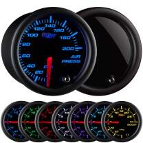 """GlowShift Tinted 7 Color 200 PSI Mechanical Air Pressure Gauge - Black Dial - Smoked Lens - for Air Ride Suspension Systems - 2-1/16"""" 52mm"""