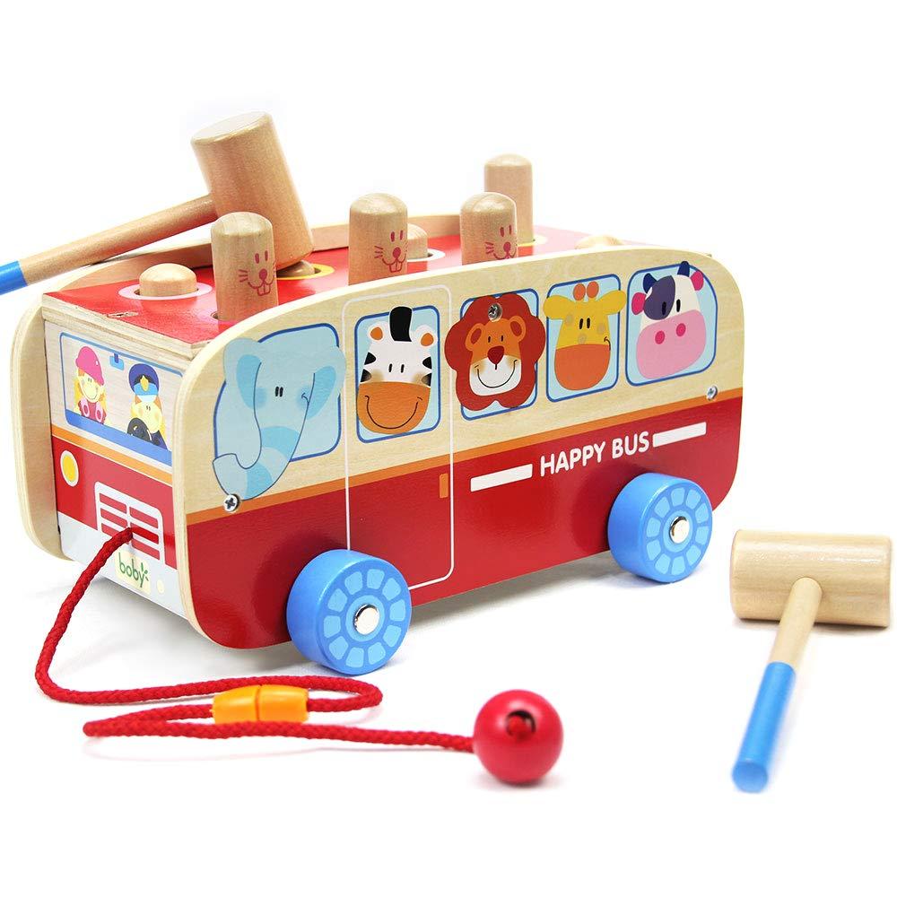 Joyshare Wood Pounding Bench Pull Along Animal Bus Toys Early Educational Development for Toddlers Preschool Kids (Animal Bus)