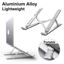 Laptop Stand, DOB SECHS Adjustable Aluminum Laptop Tablet Stand, Foldable Portable Desktop Holder Compatible with All Laptops (Up to 17.3 inch), Silver