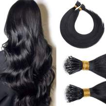 Nano Ring Hair Extensions Nano Bead Human Hair Nano Link Hair Extensions Remy Cold Fushion Pre Bonded I Tip Nano Tipped Hair Extensions For Women 18inch 50g/PACK 50 Strands #01 Natural Black