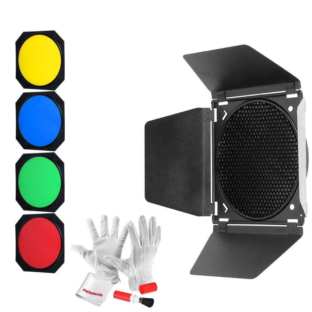Godox BD-04 Barn Door & Honeycomb Grid &4 Color Gel Filters Compatible for AD-R6 Standard Reflectors for AD600B/AD600BM/AD600Pro/SL60W/SL150W/SL200W/MS200/MS300,W/pergear Cleaning Kit