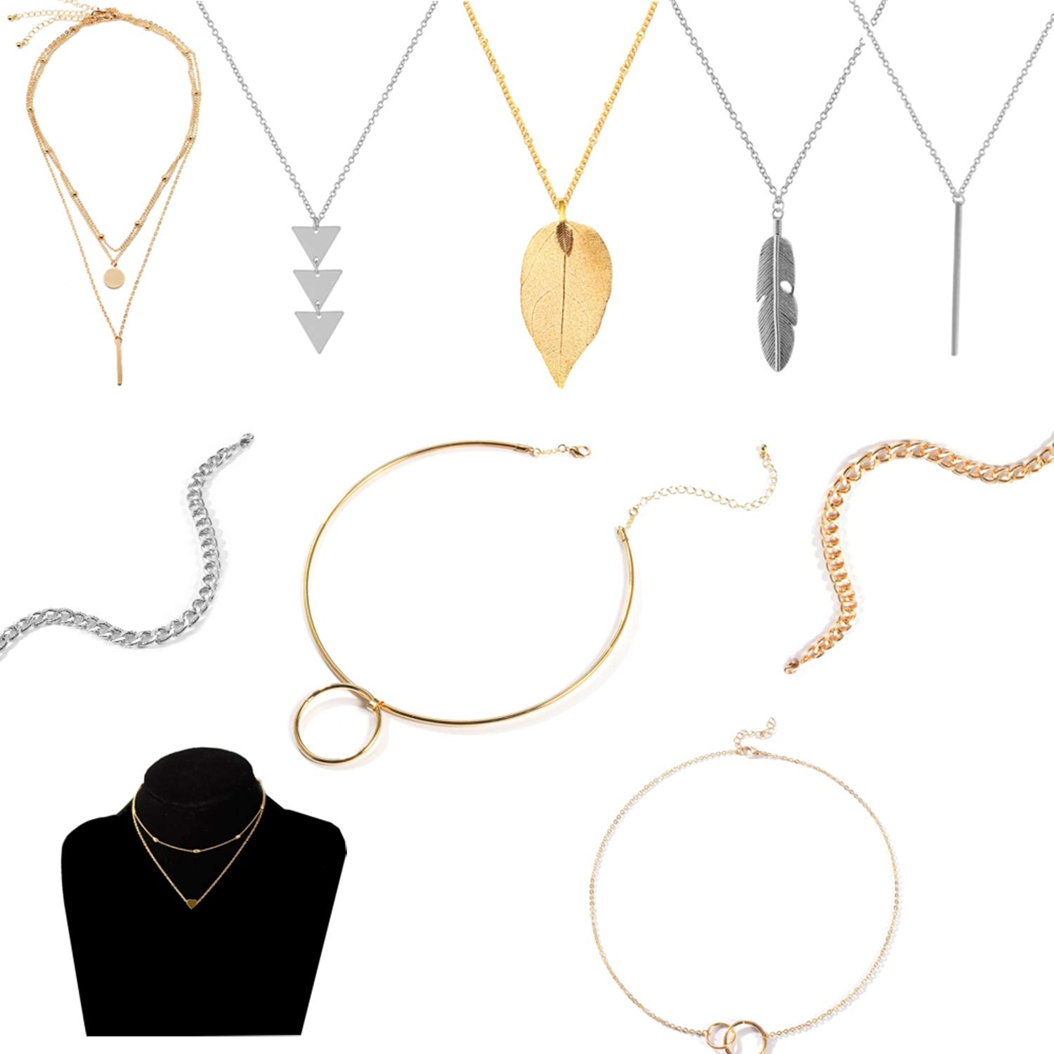 10 Pieces Clavicle Chain Ring Neck Collar & Long Pendant Necklace Set Y Tassel Leaf Circle Bar Feather Tassel Big Small Circle Geometric Disc Necklace for Women/Girls