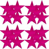 UNIQOOO 20Pcs Metallic Pink Foil Star Cutouts Bulk Accents, Thick Paper Cardboard Pre-Punched Hole, For Kids Birthday Party Favors Banner Garland BackDrop Decor, Classroom Bulletin Board Craft, 9 Inch