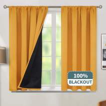BGment Thermal Insulated 100% Blackout Curtains for Bedroom with Black Liner, Double Layer Full Room Darkening Noise Reducing Rod Pocket Curtain (52 x 54 Inch, Mustard, 2 Panels)
