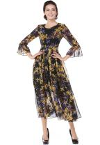 XINUO Women Dresses Floral Print Flowy Party Midi Dress Summer A Line Chiffon Casual Round Neck Black Formal Daily Dress (Black, US10-12(Tag Asian XL))