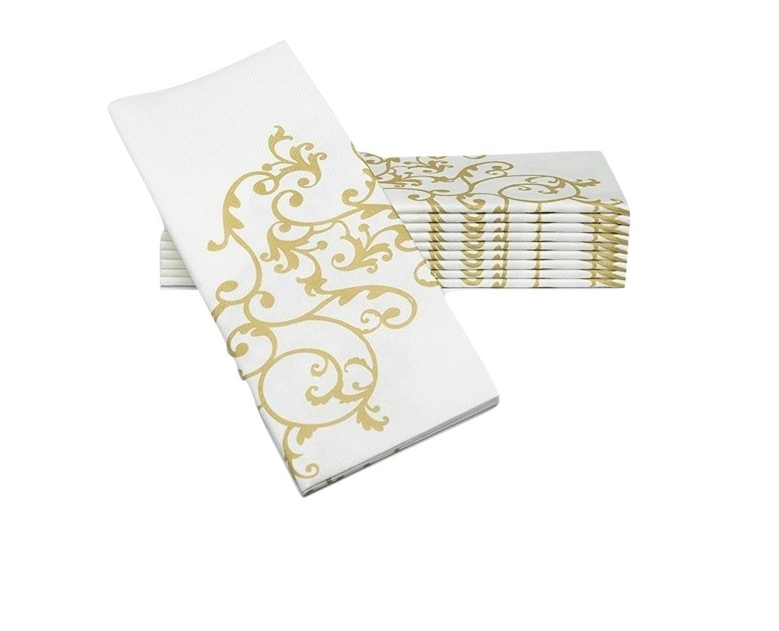 """Simulinen Dinner Napkins - Gold & White - Decorative Cloth Like & Disposable Large Napkins - Soft, Absorbent & Durable (19""""x17"""" - Box of 60)"""
