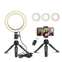 """UBeesize 6"""" Tabletop Selfie Ring Light with Mini Tripod Stand & Cell Phone Holder for Live Stream/Makeup, Mini Led Camera Ringlight for YouTube Video/Photography Compatible with iPhone Xs Max Android"""