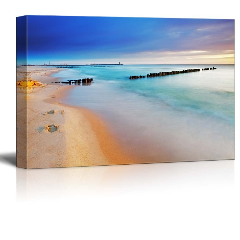"""wall26 - Canvas Prints Wall Art - Baltic Sea at Beautiful Sunrise in Poland Beach 