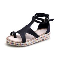 Women's Summer Flat Ethnic Toe Ring Comfy Sandals Black Tag 42 -US B(M) 9.5