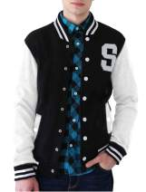 Lars Amadeus Men Baseball Bomber School Color Block Varsity Letterman Stand Collar Jacket