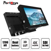 PortKeys HS7T 7 Inch 1920x1200 On Camera Field Monitor 1200 Nit with HLG/3D LUT, 3G-SDI/4K HDMI In/Out Put, Support Wireless Claymore, Dual Swappable Battery Supply