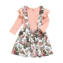 Baby Girls Infant Floral Suspender Skirt Ruffle Long Sleeve Top Ribbed Outfits