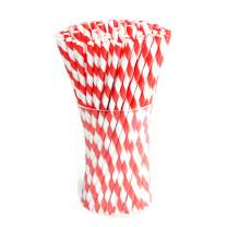 Paper Straws Diodegradable 200 Pack - Ystdom Red Stripe Paper Drinking Straws - Bulk Disposable Straws for Cocktail,Juices, Shakes, Smoothies, Gender Reveal Party Supplies