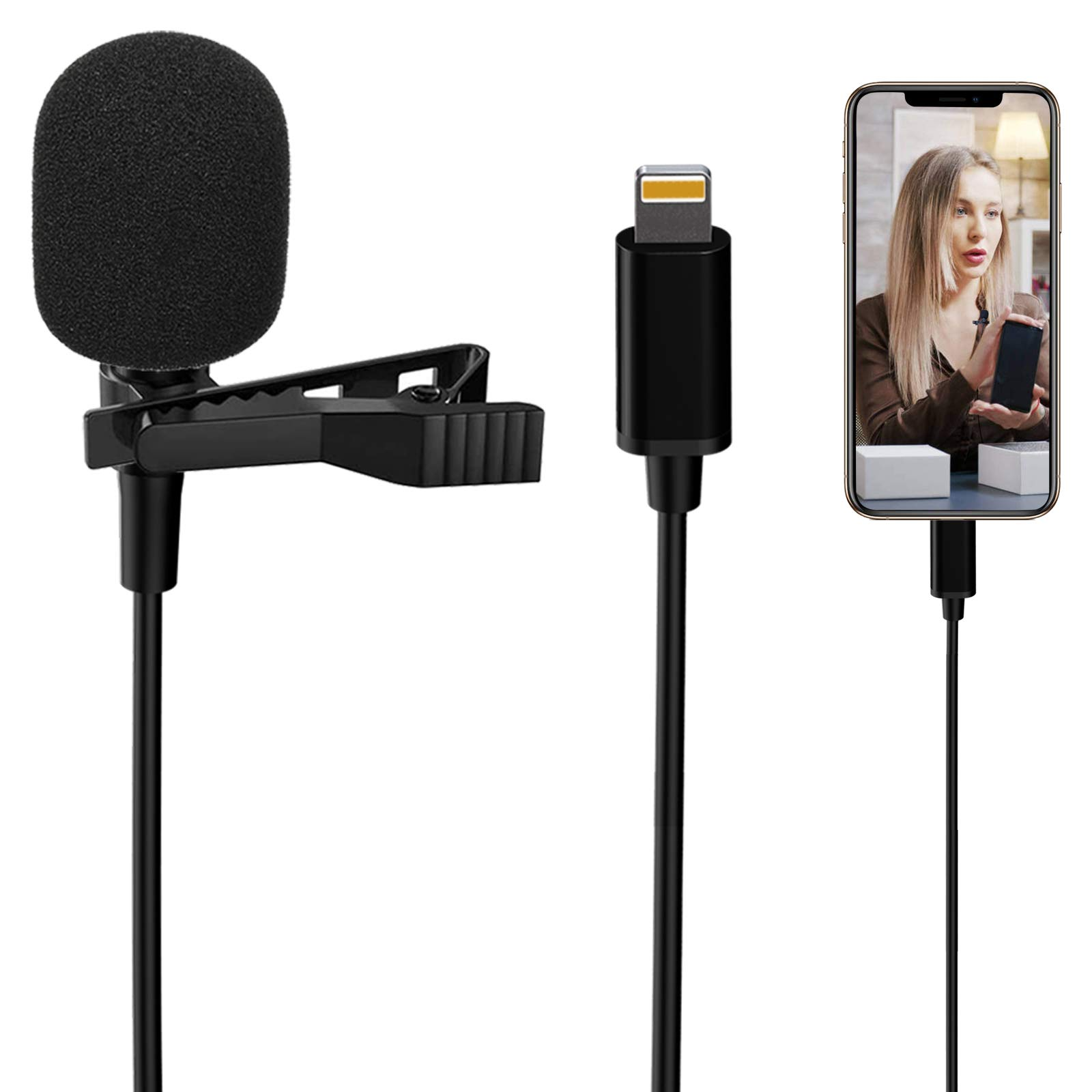 Lavalier Lapel Microphone for iPhone,Professional External Omnidirectional Mini Mic Phone Audio Video Recording,Easy Clip-on Lavalier Condenser Mic for YouTube/Vlogging/Podcast for iPhone/iPad(59in)