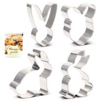 Asener Easter Cookie Cutters Set [4-Piece] - Perfectly Designed, Bunny Rabbit Shape - Durable Cookie Cutter with Recipe Book
