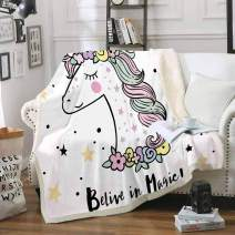 Homefit Cartoon Blanket Sherpa Blanket Cartoon Unicorn Throws for Kids (85, 60x80 inch)