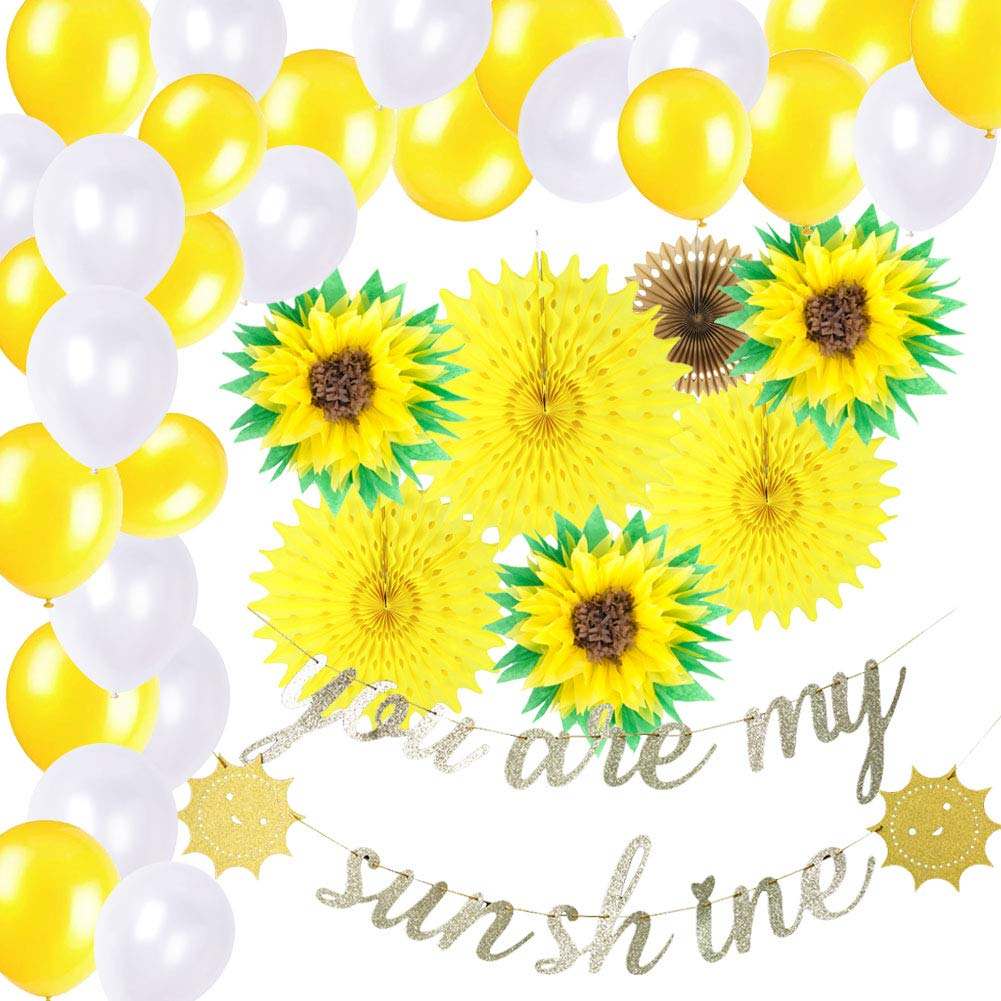 Sunflower Party Decorations Summer Party Gold Glitter You Are My Sunshine Banner Tissue Pom Poms Latex Balloons Wedding Birthday Party Supplies SUNBEAUTY