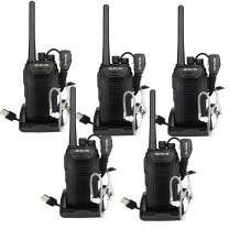 Retevis RT27V MURS Walkie Talkies 5 Channel VHF Radios DCS Encryption Rechargeable Hands Free Two Way Radio with Earpiece Covert Air Acoustic (5 Pack)