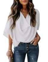 MEROKEETY Women's Summer V Neck Chiffon Draped Blouse Half Bell Sleeve Loose Shirts Top