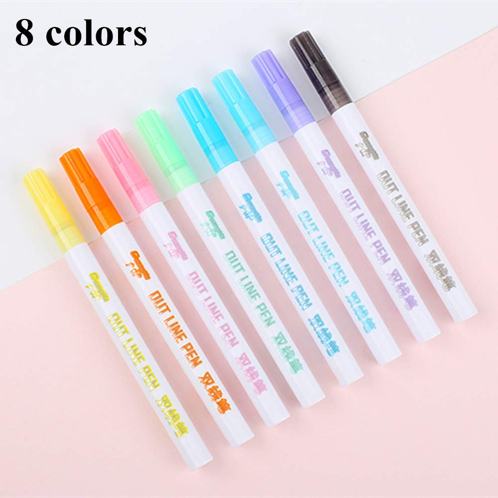 JDiction Double Line Outline Pen 8 Colors/Set Double Line Glitter Marker Pen Writing Drawing Pens for Card Making,DIY Art Crafts, Painting