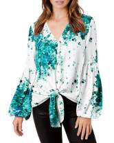 SySea Womens Floral V Neck Tie Front Tunic Batwing Long Sleeve Chiffon Casual Blouse Tops