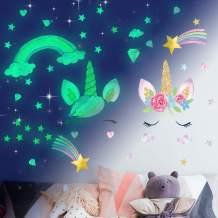 Glow in The Dark Stars, Unicorn Wall Sticker for Girls Bedroom, Unicorn Room Decor for Girls Bedroom,Unicorn Wall Stickers for Kids