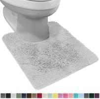 Gorilla Grip Original Shaggy Chenille Oval U-Shape Contoured Mat for Base of Toilet, 22.5x19.5 Size, Machine Wash and Dry, Soft Plush Absorbent Contour Carpet Mats for Bathroom Toilets, Light Gray