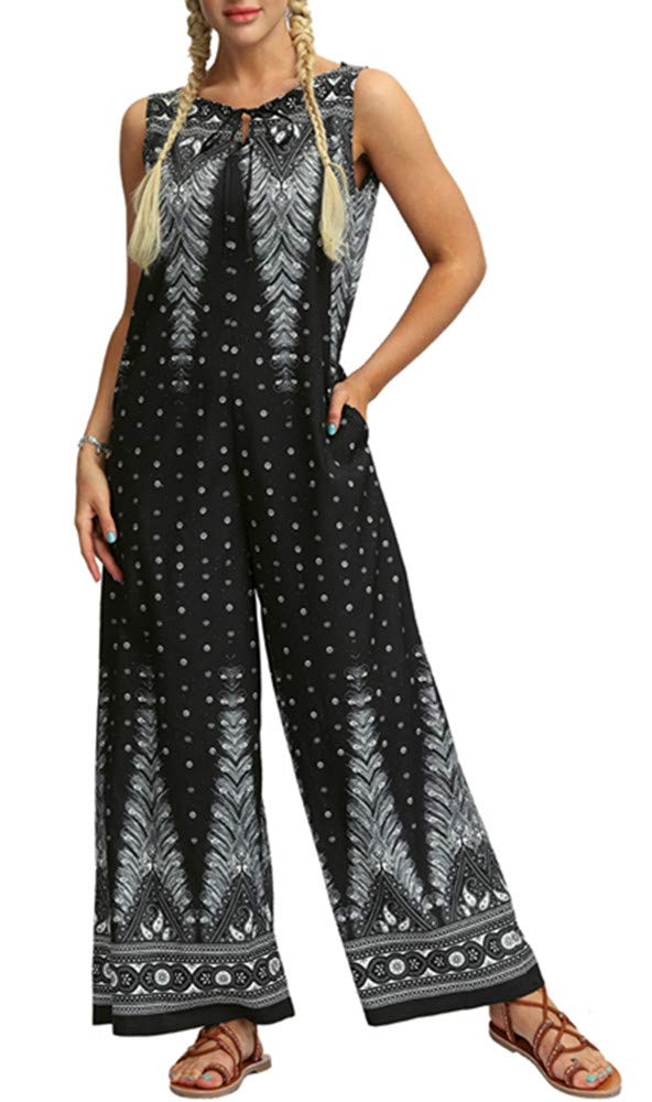 GLUDEAR Women African Print Sleeveless Wide Leg Boho Party Jumpsuit Palazzo Pant