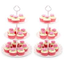 Imillet Cupcake Stand/Holder Plastic Dessert Stand White Cake Stand 3 Tiered Serving Stand Display Stand Reusable Pastry Platter for Wedding Birthday Baby Shower Tea Party Decorations (2 Pack Large)