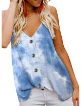 MEROKEETY Women's Tie Dye Button Down V Neck Strappy Tank Tops Sleeveless Blouse Shirts